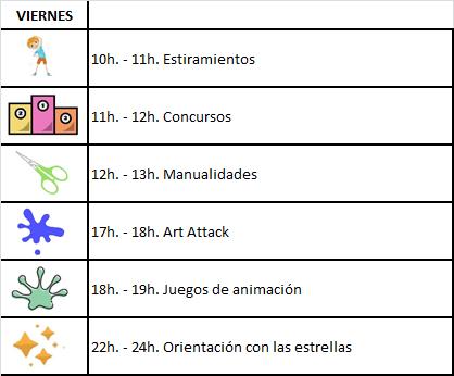 Horario Actividades Verano 2018