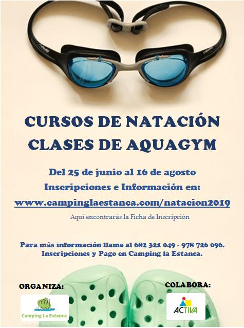 Cursos de natación y aquagym 2019. Camping La Estanca.